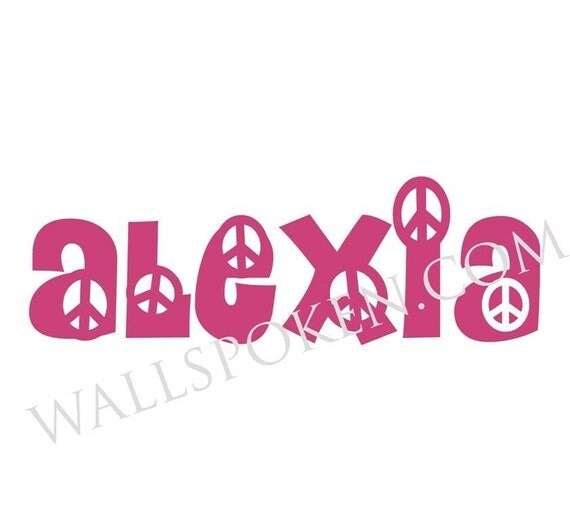 NAME IN PEACE SIGN FONT Flower Child Hippie Funky Teen Personalized Vinyl Decal