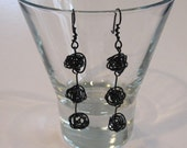 "Black wire earrings -- Handmade love knot wire dangle earrings in ""Be-My-Beloved"" Black -- simple artisan jewelry with classic appeal"