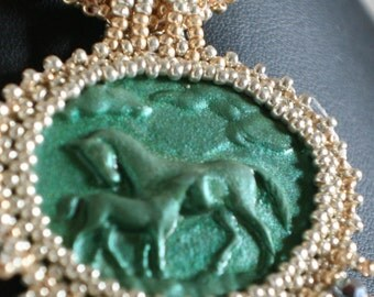 Green Gold and Silver Horse Cabochon Necklace