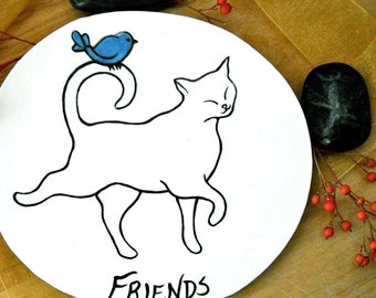 Cat & Bird Best Friends Dish - HandMade Kitty, BlueBird of Happiness Small Plate - BFF Jewelry, Ring Holder, Spoon Rest, Pet Food Treat Dish
