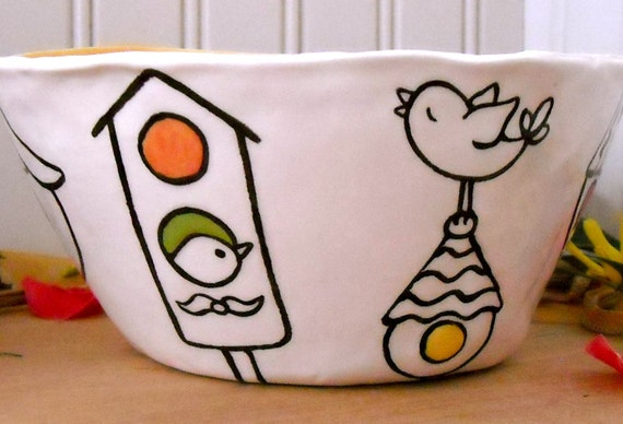 Bird Houses Pottery Bowl - Handmade & Painted Unique Clay Serving Dish - Graphic Design Birdie Home Ceramics - Soup, Salad, Cereal size