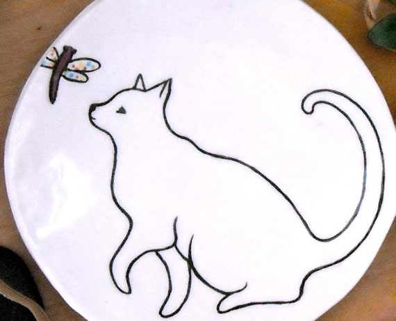 Cat Dish - Kitty & Dragonfly Treat Plate - PLAY - HandMade Pottery Trinket Tray, Catchall, Spoon Rest, Jewelry, Ring Holder - Family Pet