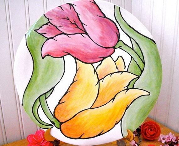 Tulip Tango Dance Flower Plate- HandMade Painted Fine Art Pastel Radiant Orchid Yellow Blossom Garden Serving Platter, Charity Donation SALE