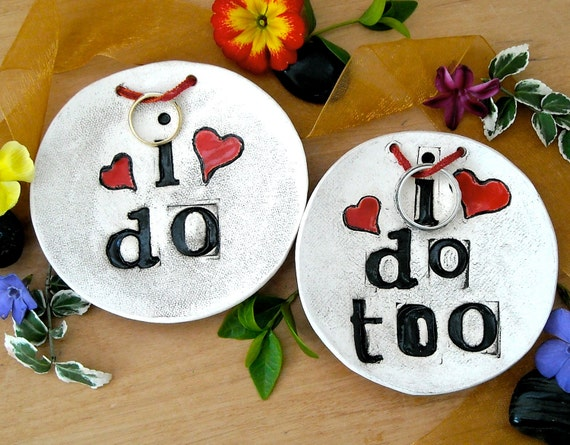 Wedding Ring Bowls - I DO. I Do TOO. Set - Pair of Commitment Ceremony Ring Bearer Ceramic Pillows - Rustic Stamped Pottery Jewelry Holder