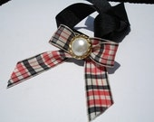 Plaid Dog Necklace with Vintage Pearl Button- Necklace