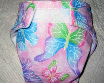 Baby Doll Diaper/Wipe - Colorful Butteryflys -Fits Bitty Baby, Baby Alive, Cabbage Patch Dolls and More