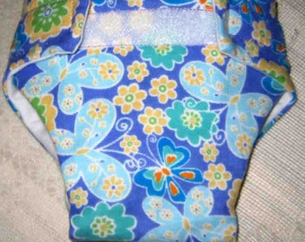Baby Doll Cloth Diaper/Wipe- Flowers and Butterflys- (Cloth) - Fits Bitty Baby, Baby Alive, Cabbage Patch Dolls and More
