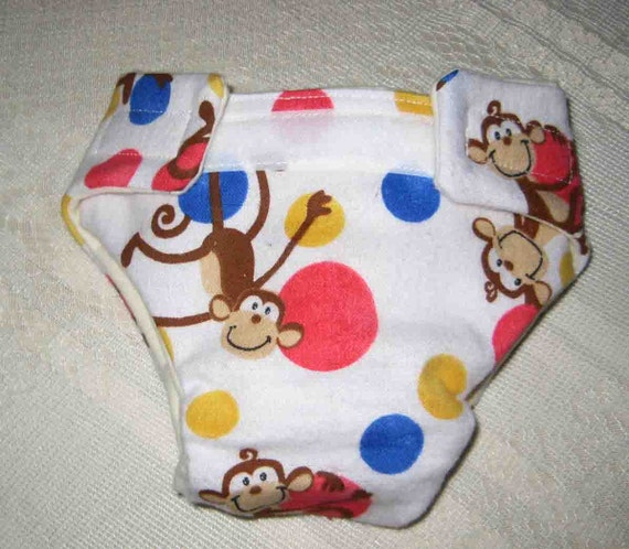 Baby Doll Cloth Diaper - Monkeys Playing-Adjustable to fit Bitty Baby Alive,Cabbage Patch Dolls and More