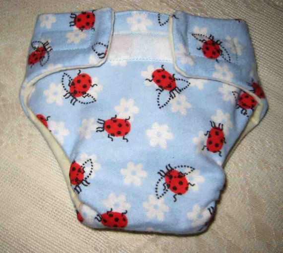 Baby Doll  Diaper and Free Wipe-  Power Blue with Pretty Ladybugs - Fits Bitty Baby, Baby Alive, Cabbage Patch Dolls and More
