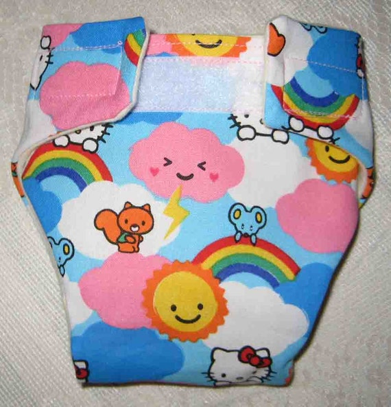 Baby Doll Diapers -Hello Kitty with Pink and White clouds-