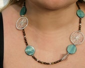 OOAK Peacock Teal, Wooden and Silver Earring and Necklace SET
