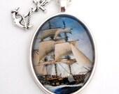 Ship Nautical Silver Pendant Necklace Sail Away