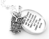 The Owl and The Pussycat Silver Pendant Necklace Black and White Grey Poem Poetry Edward Lear Moon