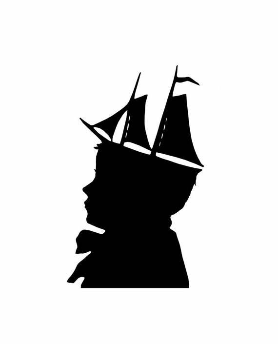 Nautical Silhouette Original Handcut The Young Captain Papercut Black and White Beach House Decor Nursery