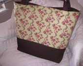 Pink and Green Cherry Blossom Vines Purse Tote Diaper Bag Custom Made to Order Design Your Own Extra Large Diaper Bag Size