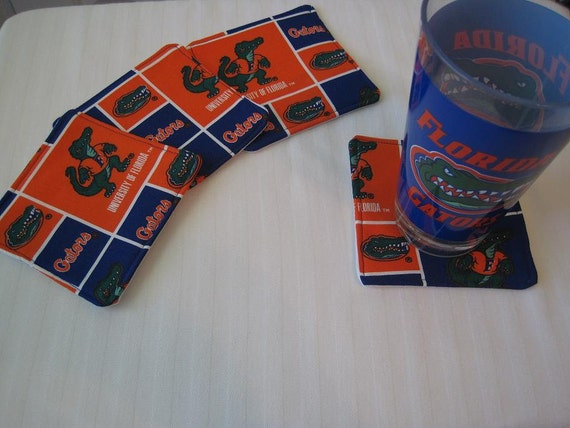 Custom Made Order Set of Fabric Coasters UF University of Florida Gators