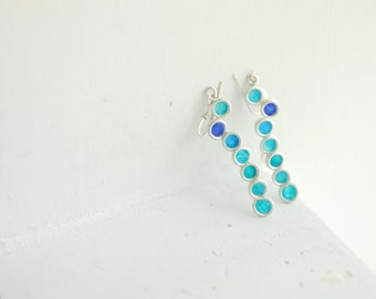 Peacock Blue Earrings, Ocean Wave Earrings, Artisan Paper Jewelry