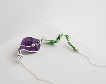 Calla Lily Necklace Royal Purple Sterling Silver, 4th 1st Anniversary Gift Paper Flower Jewelry Wedding Unique Wearable Art Aunt Gardener
