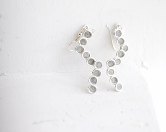 Slate Dove Gray Minimal Bubble Sterling Silver Dangle Earrings 1st Anniversary Gift Paper Jewelry Unique Minimalist Minimal Circle Pebble