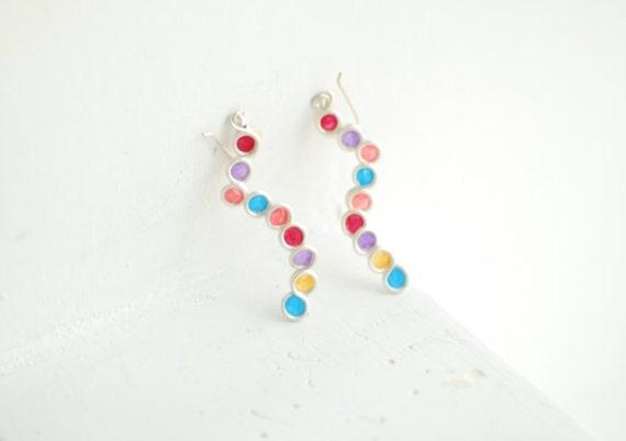 Sedona Sunset Earrings, Colorful Dangle Earrings, Paper Jewelry, Lightweight Earrings