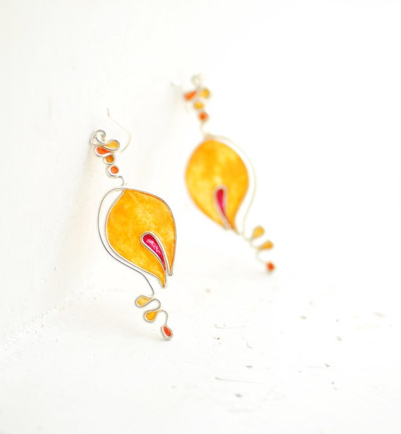 Sterling Silver Dangle Earrings Lily of the Valley Earrings,1st Anniversary Gift Paper Jewelry, Orange Red Tangerine Tiger Lily Flower