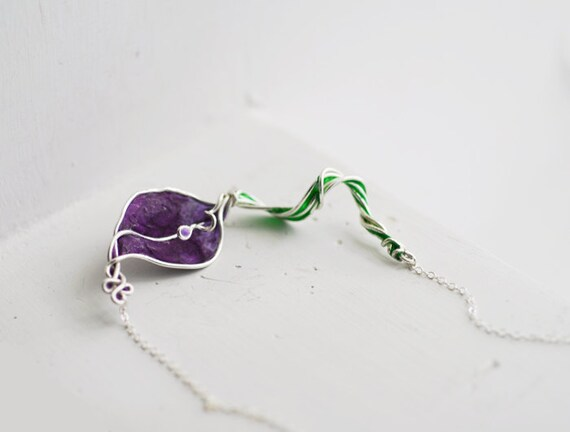 Purple Flower Necklace, Calla Lily Jewelry, Friendship Gift, Victorian Inspired Art
