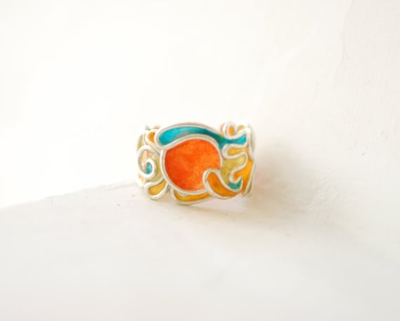 Rising Sun Ring Wide Band Statement Jewelry Sterling Silver, 1st Anniversary Gift Paper Jewelry, Orange Colorful Art Jewelry Japanese Sun