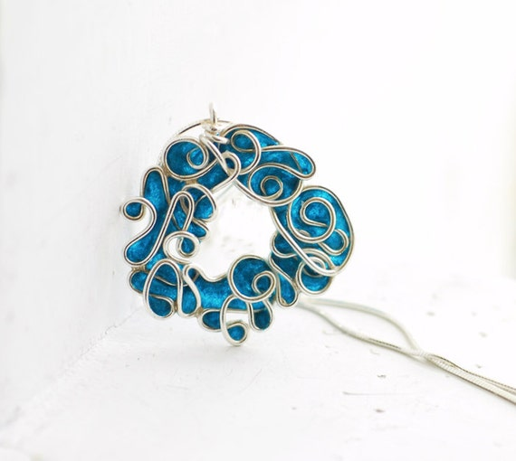 Ocean Wreath Abstract Sterling Silver Artisan Necklace in Deep Teal Blue, 1st Anniversary Paper Jewelry, Ocean Nautical Sea Inspired Wedding