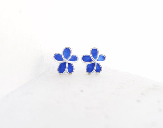 Royal Blue Forget Me Not Flower Post Earring Sterling, 4th 1st Anniversary Gift Paper Jewelry Police Officer Wife Mom Gift Mourning Unique