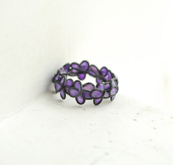 Lavender Forget Me Not Ring in Oxidized Sterling Silver, Artisan Paper Wearable Art....