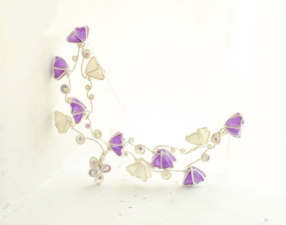 Butterfly Statement Necklace Lavender Lilac White 4th 1st Anniversary Gift Paper Jewelry Etsy Handmade Flower Garden Fairytale Wedding Bride
