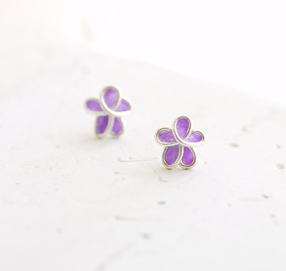 Lavender Lilac Forget Me Not Flower Post Stud Earrings, 1st Anniversary Gift Paper Jewelry 25th Silver Anniversary Best Friend Unique Gift