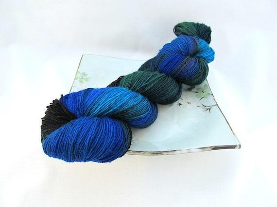 Sock Yarn - Blue-green Black - BFL Sock, OOAK