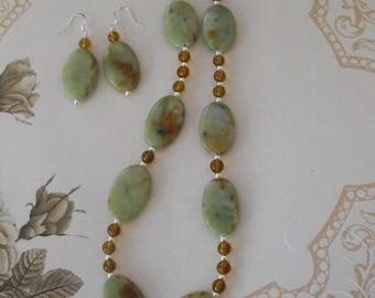 Sterling Silver Serpentine Necklace Set