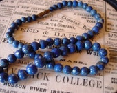 ESTATE SALE REDUCED Lapis Lazuli Beaded Necklace with Barrel Clasp - Estate