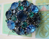 Rhinestone Brooch  -  Dome Brooch in Teal and Cobalt Blue