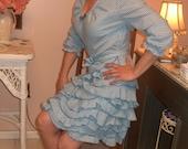 Vintage Inspired Cotton Gingham Blue and White Sassy Dress