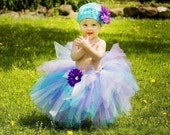 Mermaid Dreams Sewn Tutu---AS SEEN ON THE VIEW---sz nb\/5 up to 12 inches in length-Matching headband with flower clip included
