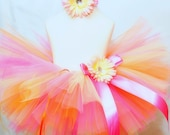 Sorbet Sweetie SEWN Tutu-AS SEEN ON THE VIEW-includes matching soft headband with flower clip