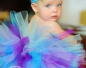 Design Your Dream Wee Ones SEWN Tutu--- AS SEEN ON THE VIEW---sz nb\/2--YOU PICK THE COLORS -includes soft headband with flower clip--PERFECT for 1st Birthdays, newborn photographs and much more