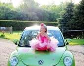 Tickled Pink Tutu Custom Sewn Tutu set great for newborn baby, toddlers, birthdays, baby showers