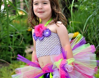 Tropical Bliss Sewn Tutu   sz 2 through 5 Matching headband set included  Fast Shipping as seen on The View