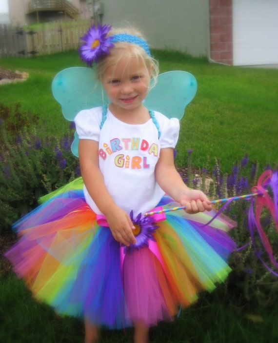 Paint Me a Rainbow Fairy Tutu Set--AS SEEN on The VIEW--includes sewn tutu sz 6m-5yrs, Fairy Wings, and a headband with matching flower clip