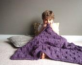 kids knit blanket in DUSTY PURPLE (basket weave)
