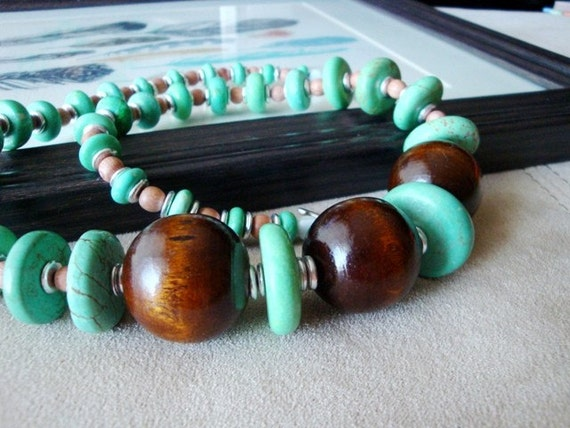 SALE - magnesite and roll bohemian necklace in GREEN BLUE - limited edition