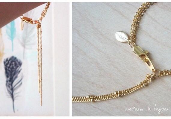 triple strand 16k gold bracelet with GOLD LEAF