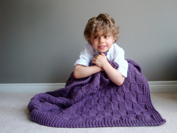 kids knit blanket in CUSTOM COLOUR (vegan friendly)