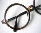 Rare 70's Christian Dior 360 Round Eyeglass Frames Large Oversized Tortoise Germany