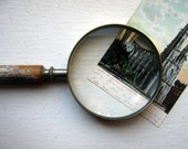 Reserved for sheamighell  Very Old Large Magnifying Glass w Wooden Distressed Painted Handle