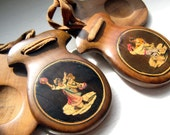 30's  Castanets Inlaid Wooden Vintage Music